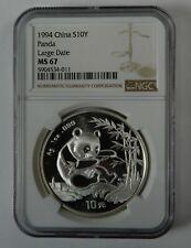1994 China Silver Panda Large Date 1 oz .999 10 Yuan Ngc Ms67