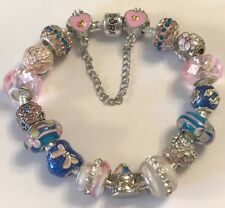 ❤️European CHARM BEADS BRACELET ~ Pink & Blue w/ Sterling Silver Plated Chain❤️