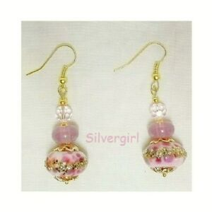 Sale! Lilac Pink Gold Lampwork Glass Crystal Earrings
