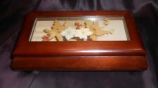 "Vintage Japanese Wood w Real Flowers In Glass Jewelry Music Box ""Love Story"""