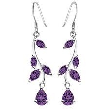 Women New Fashion 925 Silver Jewelry Amethyst Studs Dangle Earring Gift