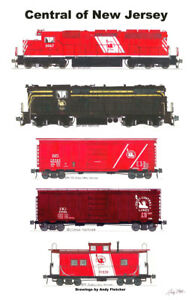 """Central Railroad of New Jersey Freight Train 11""""x17"""" Poster Andy Fletcher signed"""