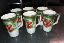"""Set of 6 Antique Dresden China Lemonade Cups, Floral Poppies 4 5/8"""" Tall"""