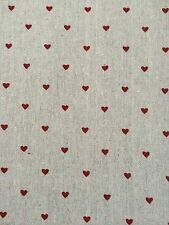 FQ Hessian Natural Linen Jute Fabric With Red ❤️ Hearts Craft Sew Quilt Craft