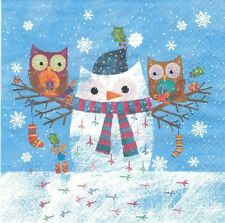 2 Serviettes papier Hibou Neige Decoupage Paper Napkins Winter Owls