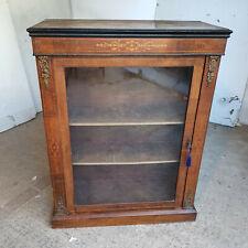 More details for antique,victorian,inlaid,glazed,walnut,pier cabinet,shelves,cabinet,bookcase