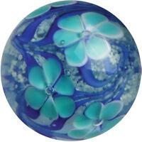 "22mm ASTER Blue Flower GLOW IN THE DARK Handmade art glass Marble 7/8"" SHOOTER"
