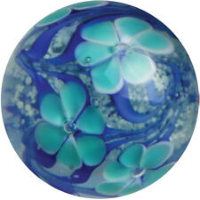 22mm ASTER Blue Flower GLOW IN THE DARK Handmade art glass Marble 7/8