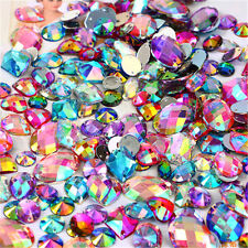 100pcs Sew On Mixed Size Colors AB Acrylic Rhinestones  Mixed Shape Free P&P