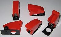 """5 X Toggle Switch Safety Cover - RED - 1/2"""" Diameter Opening  Heavy Duty Plastic"""