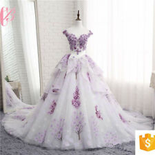 LATEST DESIGN  PURPLE APPLIQUED TIERED BALL GOWN WEDDING DRESS WITH TRAIN