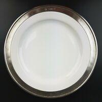 MATCH Pewter CONVIVIO White SALAD Plate Fine Italian Pewter Ceramic Dinnerware