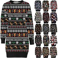 Christmas Ladies Fleece Tunic Jumper Womens Santa Xmas Dress Elf Long Sweatshirt