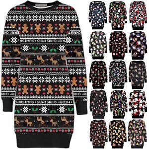 Christmas Ladies Fleece Tunic Jumper Womens Santa Xmas Dress Elf Long Sweatshirt