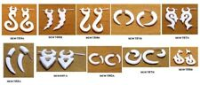 Boho Hippie Earrings 20 White Natural Tribal Yak Bone Danglers USA Wholesale Lot