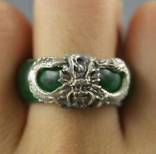 Collectible Handwork Jade Armor Miao Silver Carve Dragon Delicate Exorcism Ring