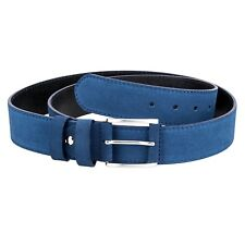Blue Suede Leather Belt Thick Wide Men's Belts Coated buckle Made in Italy 36""