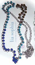 "NWT - LIA SOPHIA ""COASTAL"" BLUE,TEAL & OLIVE BEADED SILVER NECKLACE - 2012/$78"