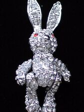 RHINESTONE EASTER BABY SHOWER RAG DOLL BUNNY RABBIT PIN BROOCH JEWELRY MOVABLE