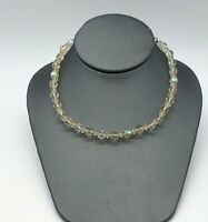 VINTAGE AB FACETED GLASS CRYSTAL BEADED CHOKER NECKLACE