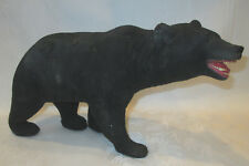"Very Rare 1940's Flocked Solid Plaster 14"" Ferocious Black Bear Figurine Statue"