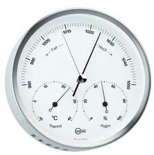 Wetterstation Analog Barigo Steel Barometer Thermometer Hygrometer Edelstal Matt