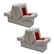 Custom Boat Back To Back Lounge Seat 75112GR | Gray Red w/ Base (Pair)