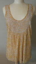 Womens Ladies Top Designer Lucky Brand Embellished Gold Scoop Neck Cotton NWT