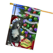 Christmas American Staffordshire Terrier Dog Tree Presents House Flag Flg53635