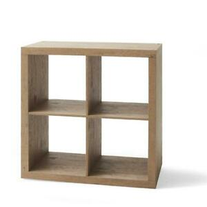 Square Storage Organizer 4-Cube Natural Finish Open Back Sleek Design Furniture