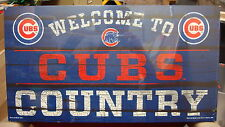 """CHICAGO CUBS WELCOME TO CUBS COUNTRY WOOD SIGN 13""""X24'' BRAND NEW WINCRAFT"""