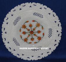 "9"" White Marble Serving Plate Grill Hakik Malachite Inlaid Pietradura Home Decor"