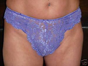 2 Deep Lilac Stretch Lace Brazilian cut briefs 12/14