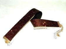 Glitzer-Halsband / Choker  dunkel-braun - schmal -- feiner Glitter  Kropfband-