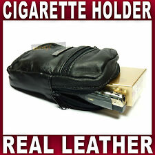 Soft Black Leather Cigarette Case & Lighter Holder Pouch Smooking Tobacco FAG