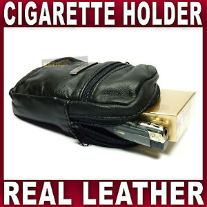 Soft Black Leather cigarette case & lighter holder pouch smooking tobacco fag