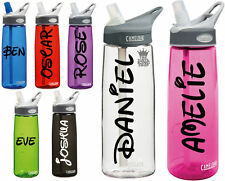 2 x Personalised Name Stickers - Drinks Bottle Gym Bike Water Waltz Font Sports