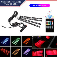 4pcs 48 LED RGB Car Interior Cigarette Lighter Atmosphere Light Music IR Control