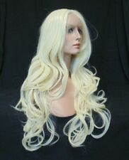 """Lace Front, 3.5"""" set Part, Long Wavy Bright Blonde, Heat Ok, Synthetic Wig -2035"""