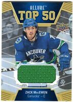 ZACK MacEWEN 2019-20 UD Allure TOP 50 JERSEY RC Canucks