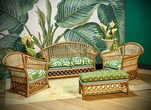 1:12 Dollhouse cane rattan living room set sofa armchairs tropical green