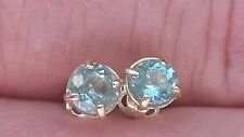 Natural neon paraiba tourmaline stud earrings in 9k gold