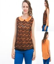 T14 New Womens Orange Size 18/20 Summer Beach Party Casual Lace Tops Blouse Plus