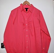 Lands End Ruched Front Crisp Pink Cotton Shirt Size 18