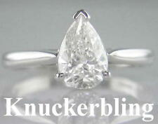 Pear Engagement Natural White Gold Fine Diamond Rings