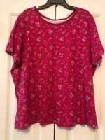 Woman Within Fushia Pink Floral T Shirt Roses Woman''s Plus Size 2X Top