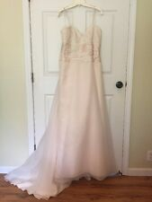 Paloma Blanca Champagne Wedding Dress With Sweetheart Neck Womens 12 Silk Lace