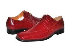 d7bc258d9 Men's Dress Shoes Croco-Embossed Faux Leather Oxfords #5733 Burgundy