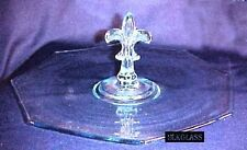 Fostoria Blue Glass Plate CHS Tray Fleur De Lies Handle