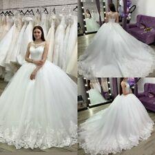 Elegant Simple Wedding Dresses Bridal Ball Gowns Sleeveless White Ivory Applique